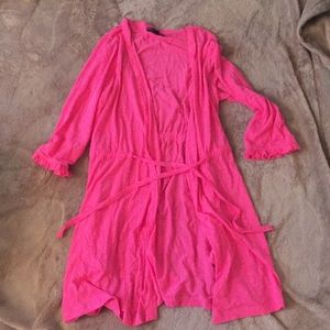 Betseyville pink tie swim coverup or robe small